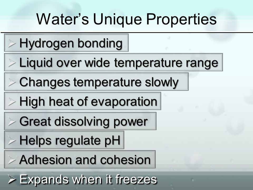 Water's Unique Properties  Hydrogenbonding  Hydrogen bonding  Liquid over wide temperature range  Changes temperature slowly  High heat of evaporation  Great dissolving power  Helps regulate pH  Adhesion and cohesion  Expands when it freezes