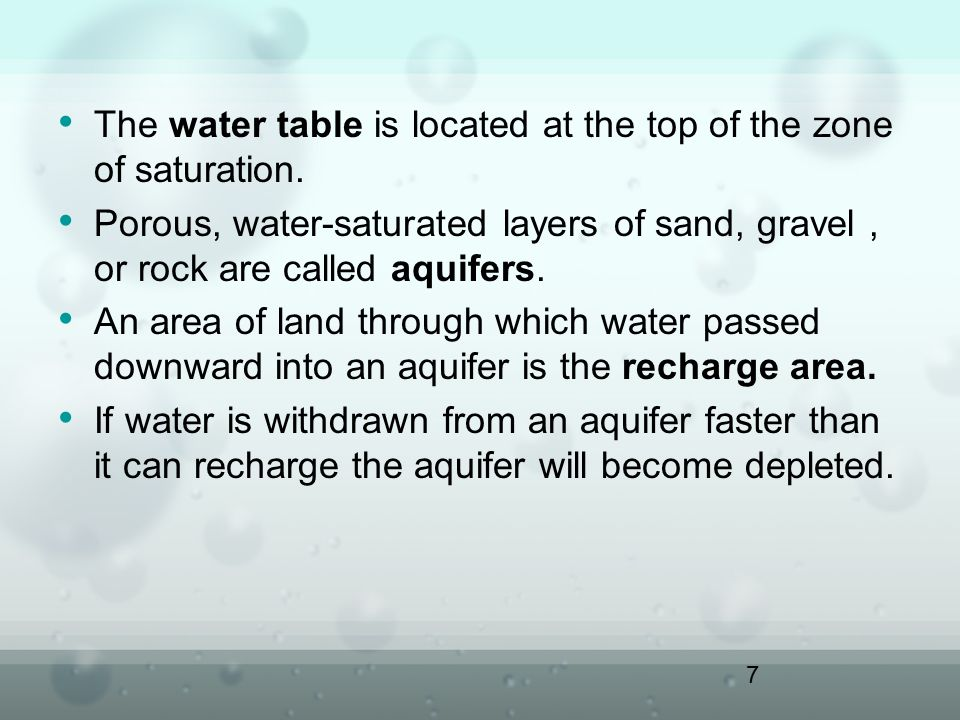 The water table is located at the top of the zone of saturation.