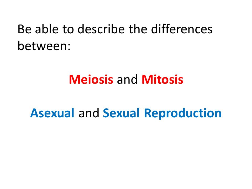 Be able to describe the differences between: Meiosis and Mitosis Asexual and Sexual Reproduction