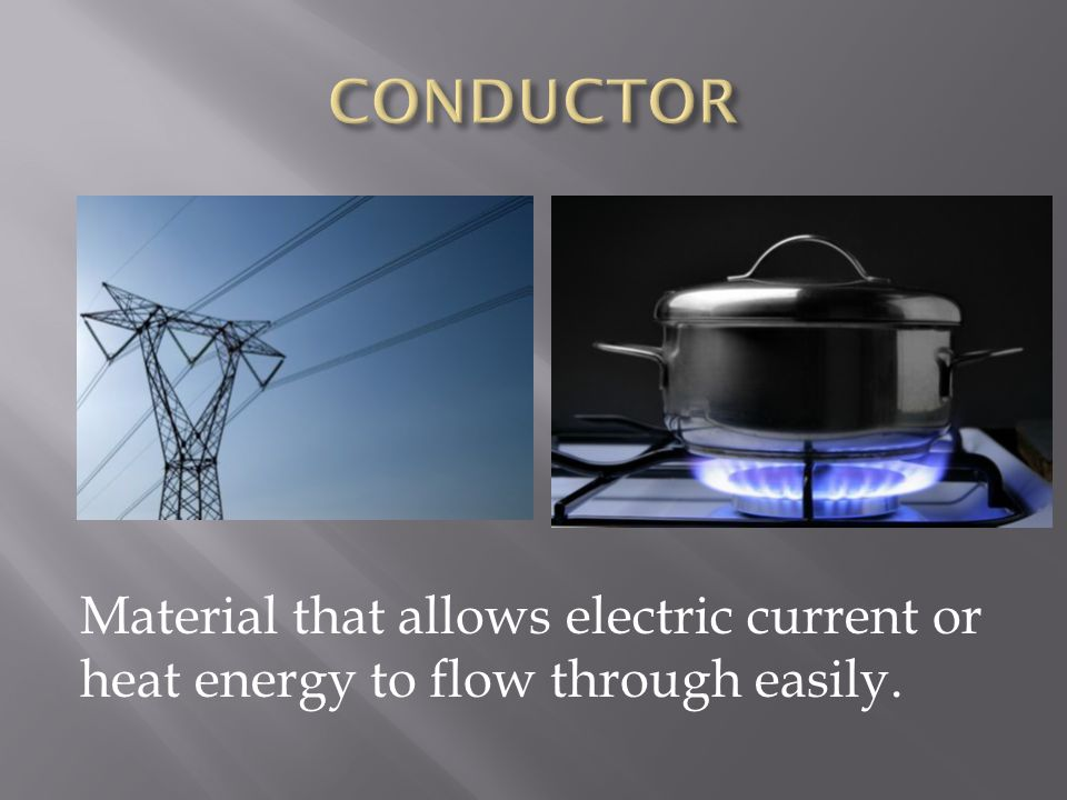 Material that allows electric current or heat energy to flow through easily.