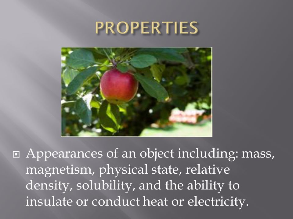  Appearances of an object including: mass, magnetism, physical state, relative density, solubility, and the ability to insulate or conduct heat or electricity.