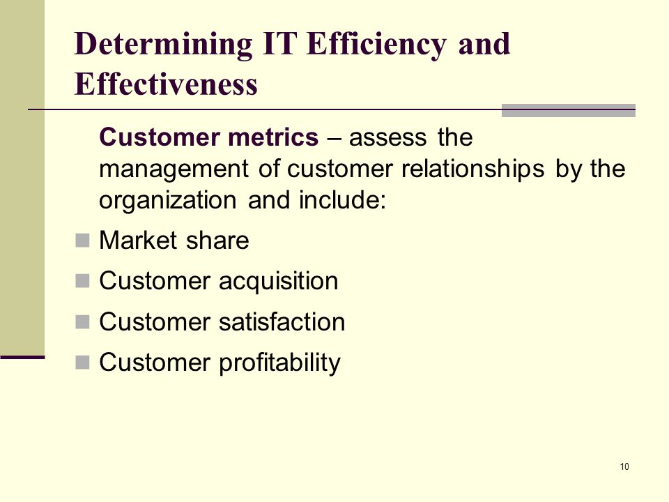 10 Determining IT Efficiency and Effectiveness Customer metrics – assess the management of customer relationships by the organization and include: Market share Customer acquisition Customer satisfaction Customer profitability