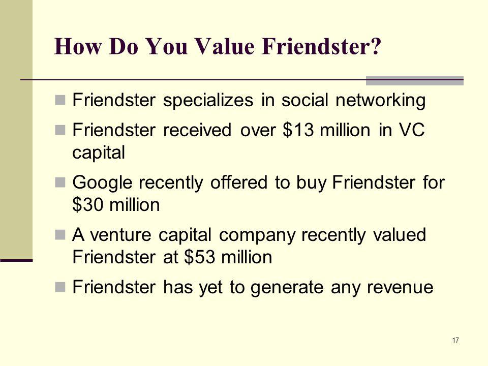 17 How Do You Value Friendster.