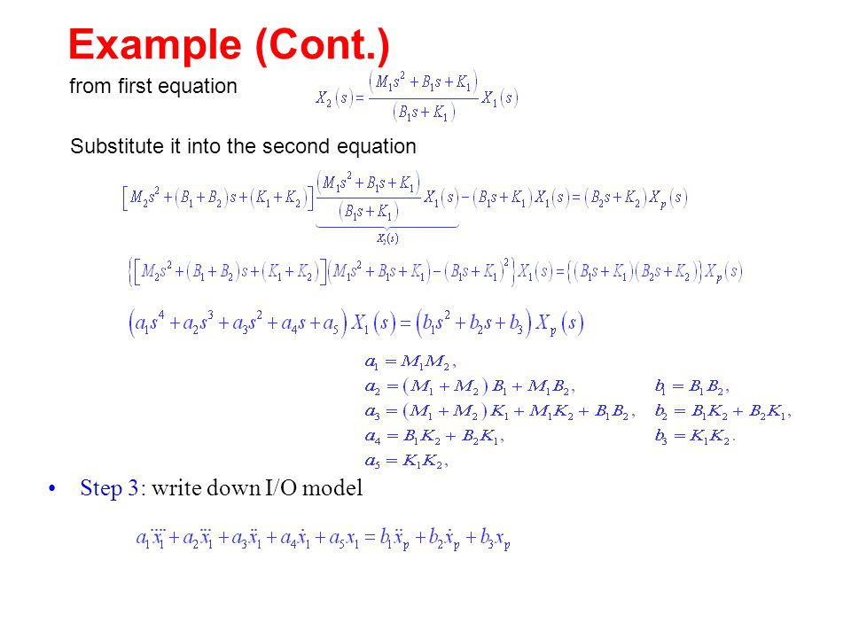 Example (Cont.) Step 3: write down I/O model from first equation Substitute it into the second equation