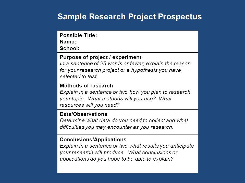 write essay prospectus