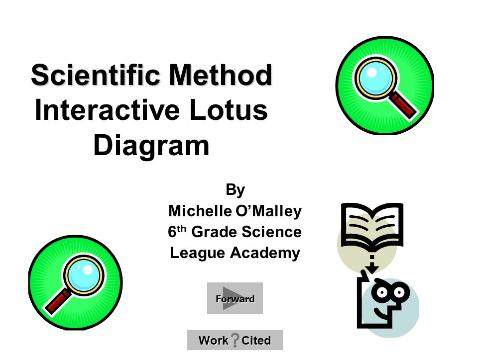 Scientific Method Scientific Method Interactive Lotus Diagram By Michelle O'Malley 6 th Grade Science League Academy Work Cited Work Cited Forward