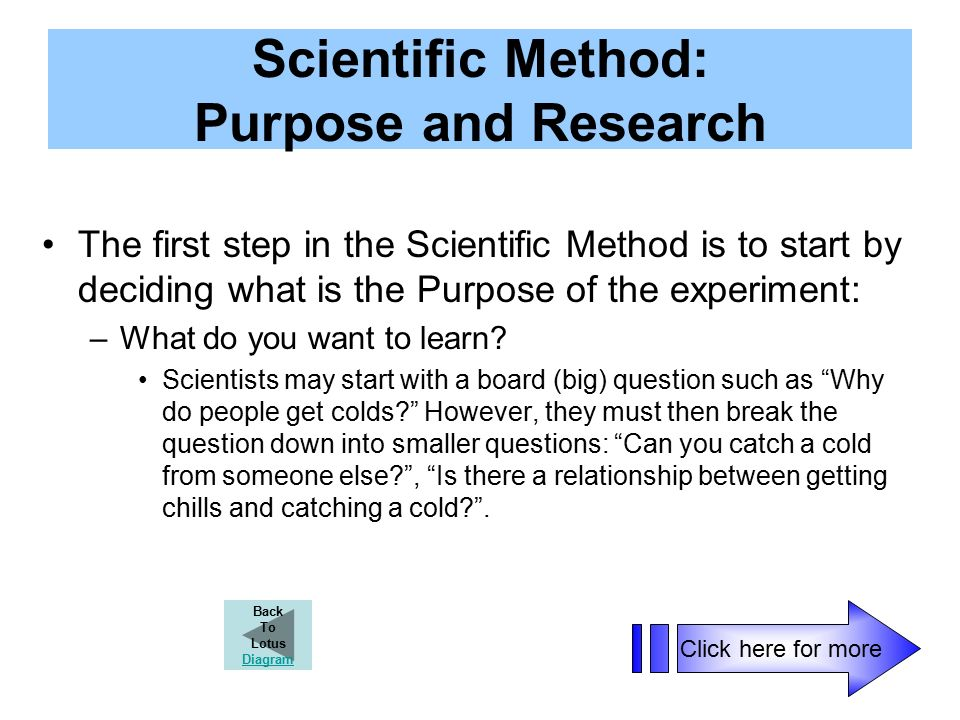 Scientific Method: Purpose and Research The first step in the Scientific Method is to start by deciding what is the Purpose of the experiment: –What do you want to learn.