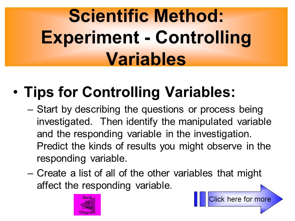 Tips for Controlling Variables: –Start by describing the questions or process being investigated.