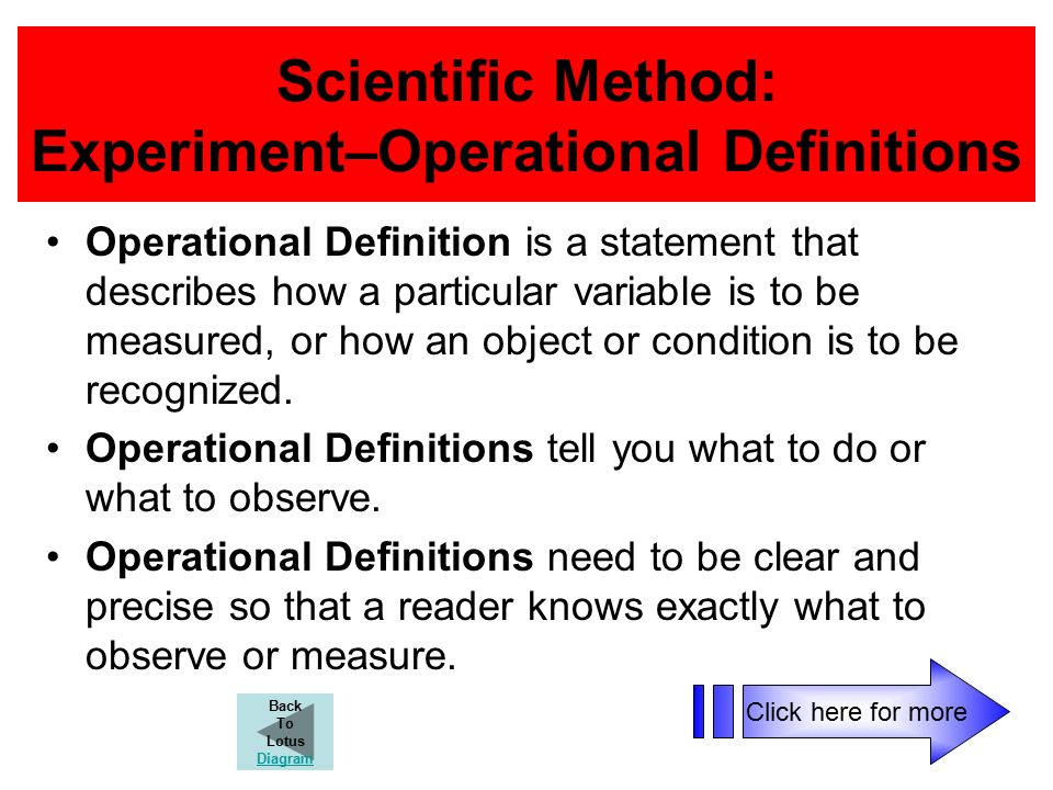 Scientific Method: Experiment–Operational Definitions Operational Definition is a statement that describes how a particular variable is to be measured, or how an object or condition is to be recognized.