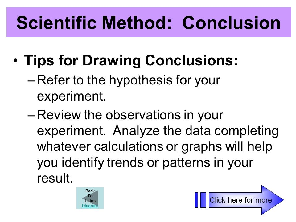 Scientific Method: Conclusion Tips for Drawing Conclusions: –Refer to the hypothesis for your experiment.