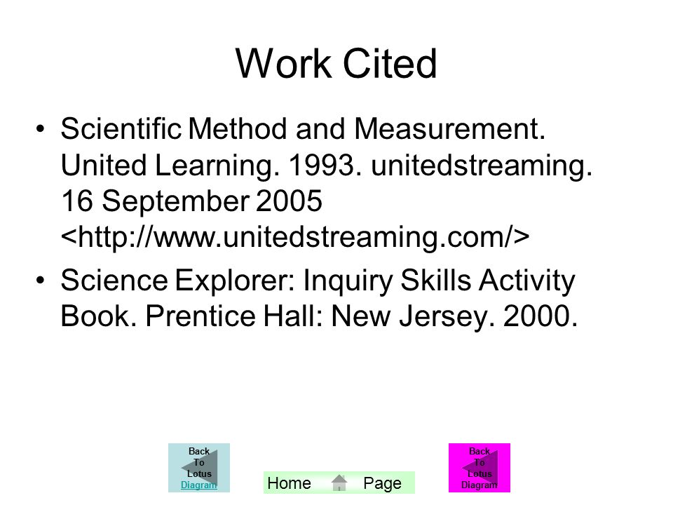 Work Cited Scientific Method and Measurement. United Learning.