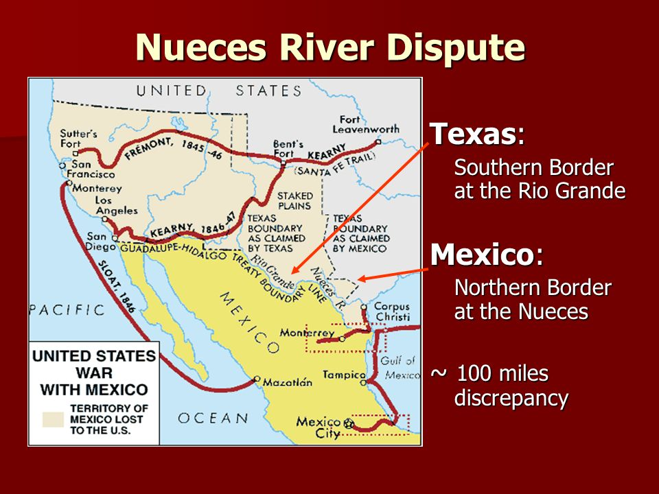 War With Mexico I Vasión Yanqui Causes Of War Annexation Of - Map 100 Miles Us Border