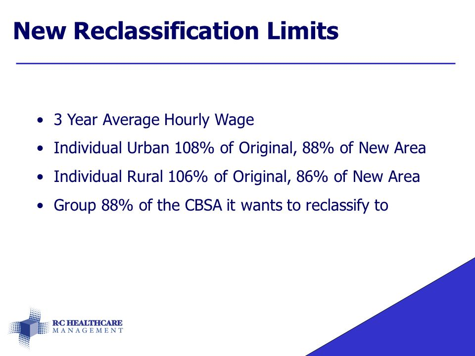 New Reclassification Limits 3 Year Average Hourly Wage Individual Urban 108% of Original, 88% of New Area Individual Rural 106% of Original, 86% of New Area Group 88% of the CBSA it wants to reclassify to