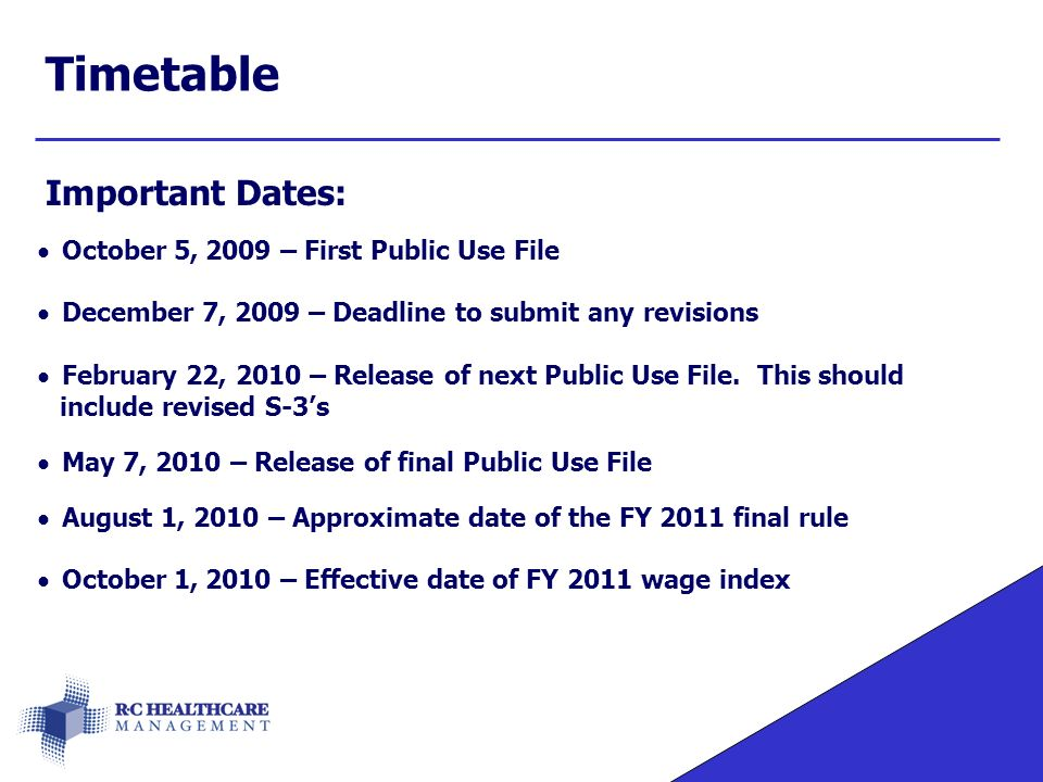 Timetable Important Dates: October 5, 2009 – First Public Use File December 7, 2009 – Deadline to submit any revisions February 22, 2010 – Release of next Public Use File.