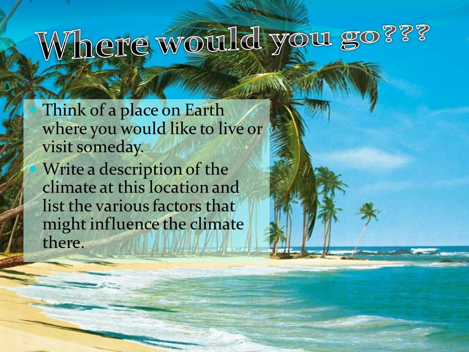 Think of a place on Earth where you would like to live or visit someday.