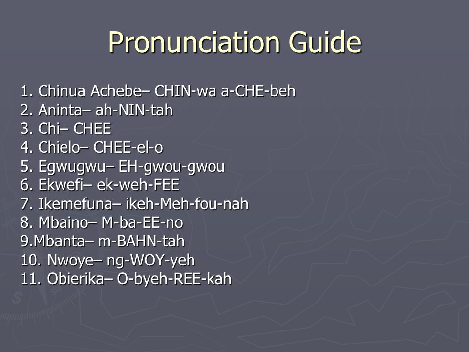 Pronunciation Guide 1. Chinua Achebe– CHIN-wa a-CHE-beh 2.