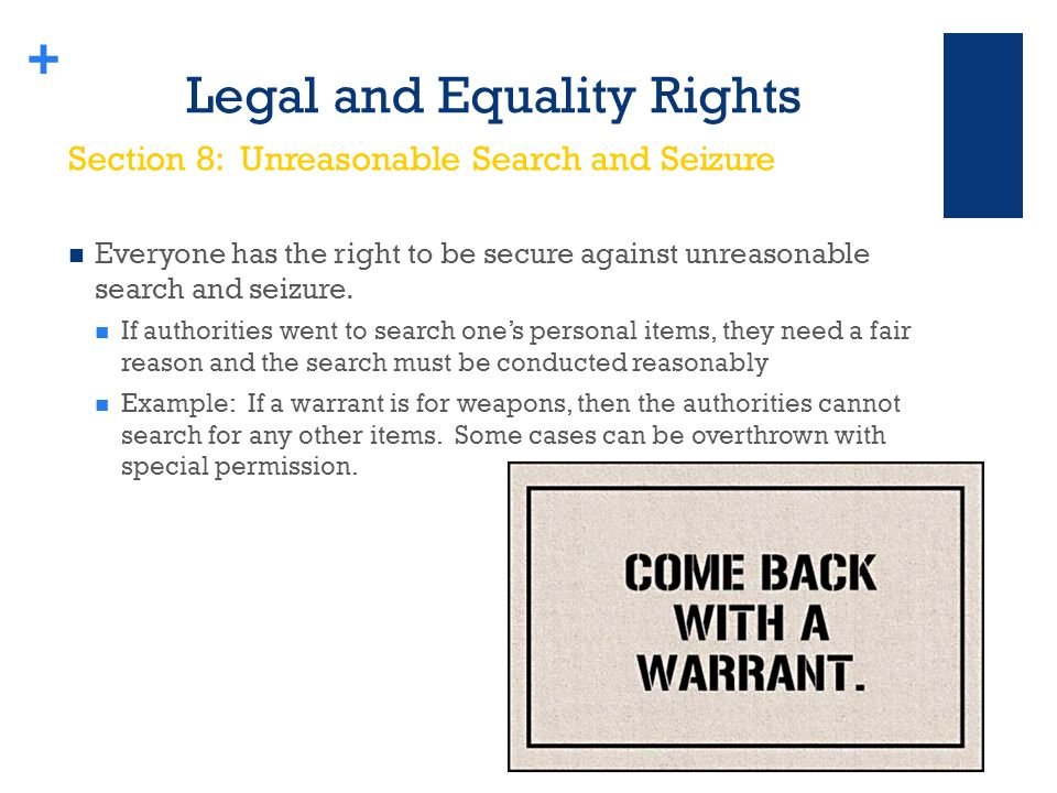 + Legal and Equality Rights Everyone has the right to be secure against unreasonable search and seizure.