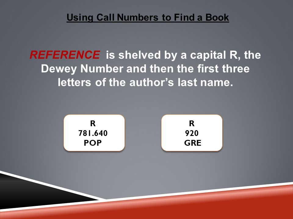Using Call Numbers to Find a Book REFERENCE is shelved by a capital R, the Dewey Number and then the first three letters of the author's last name.
