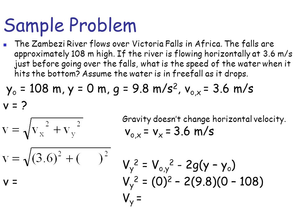 Sample Problem The Zambezi River flows over Victoria Falls in Africa.