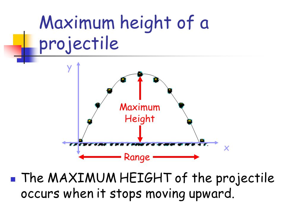 Maximum height of a projectile x y Range Maximum Height The MAXIMUM HEIGHT of the projectile occurs when it stops moving upward.