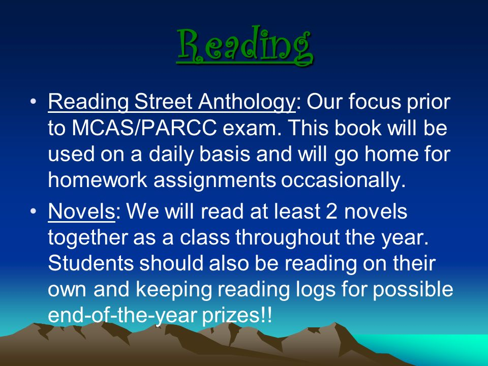 Reading Reading Street Anthology: Our focus prior to MCAS/PARCC exam.