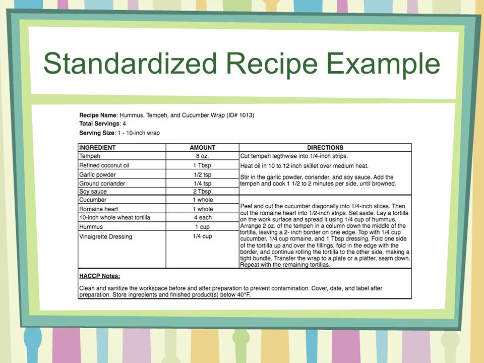 Recipe Standardization Presented By Jade Miles What Is Recipe