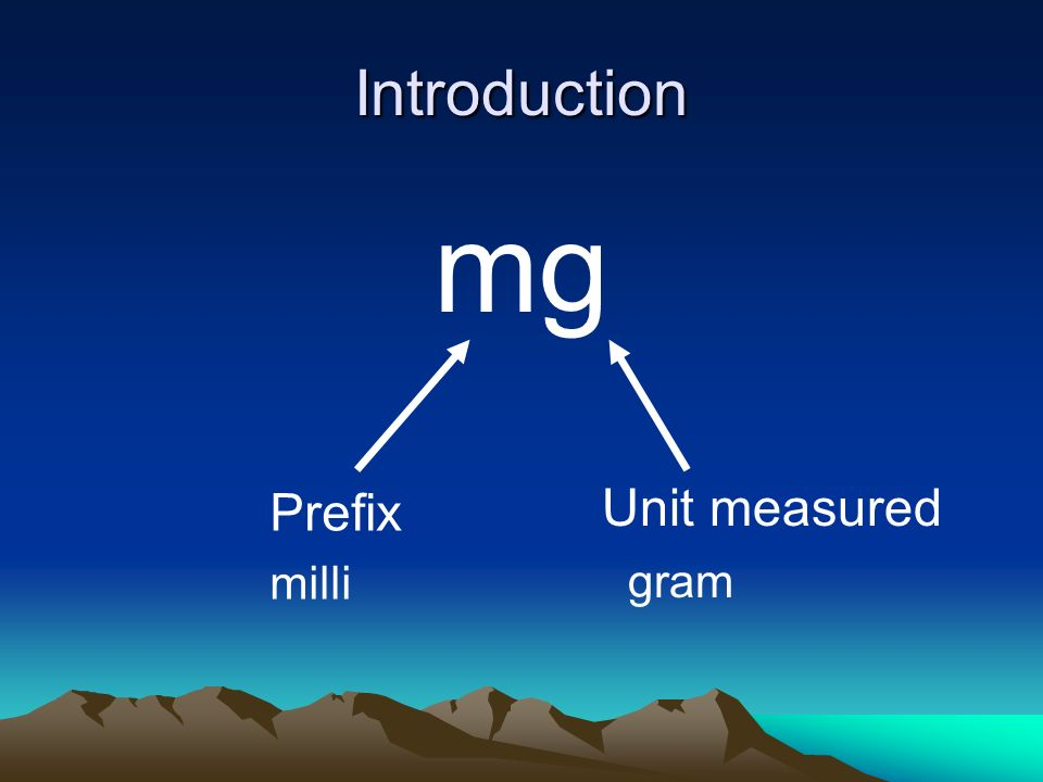 Introduction mg Prefix Unit measured milli gram