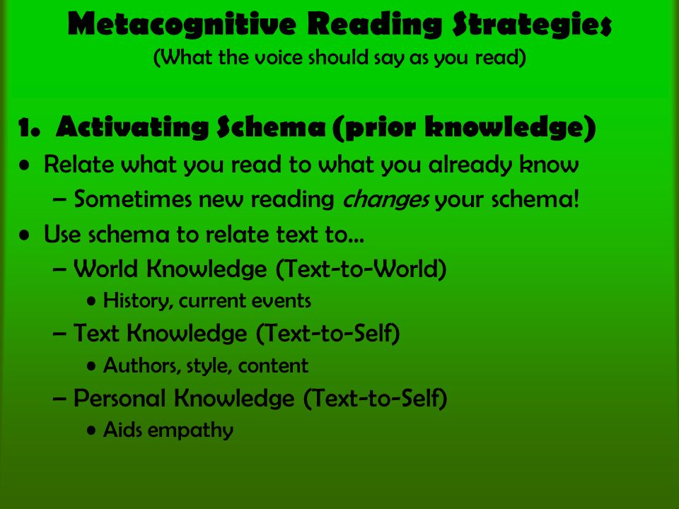 Metacognitive Reading Strategies (What the voice should say as you read) 1.