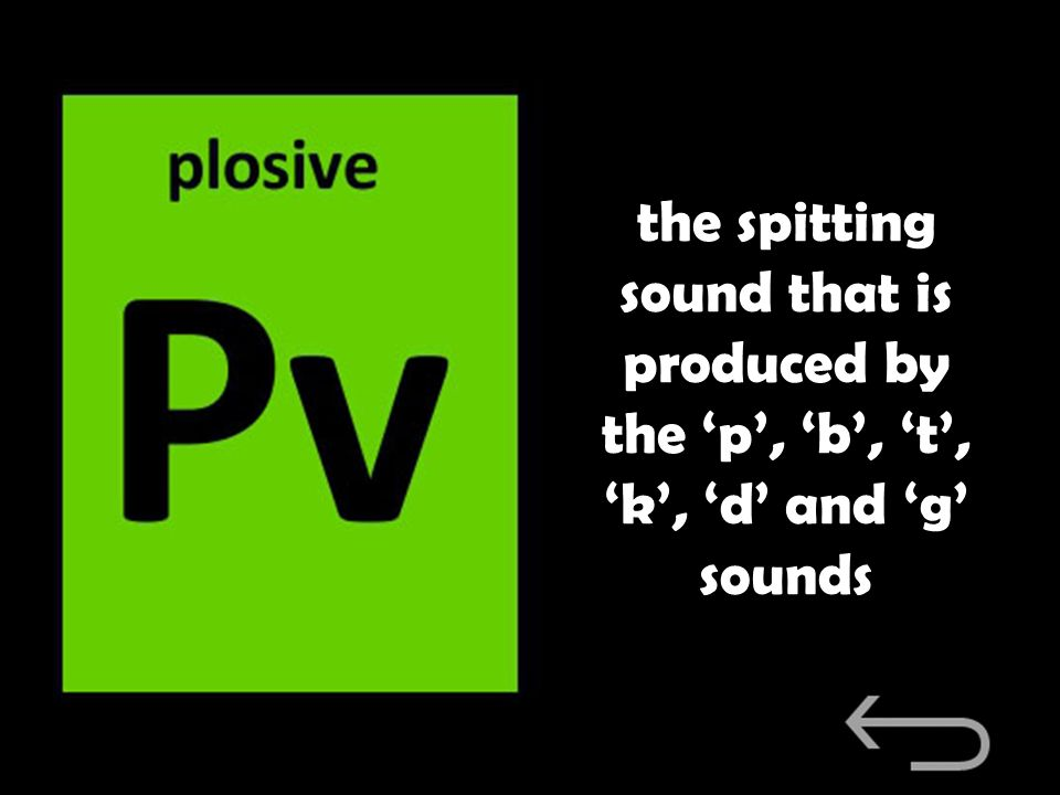 the spitting sound that is produced by the 'p', 'b', 't', 'k', 'd' and 'g' sounds