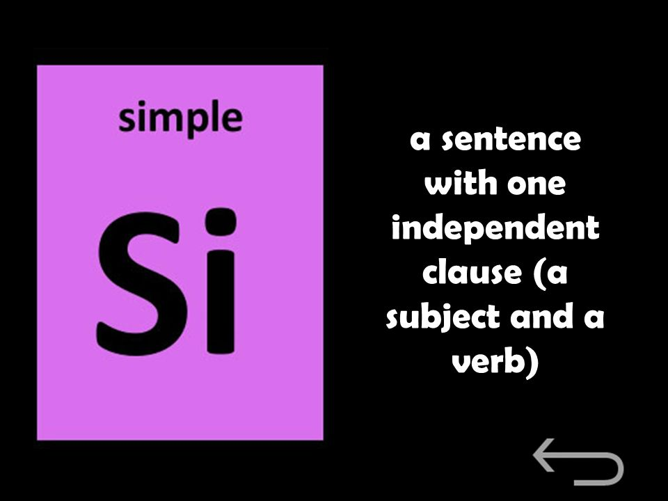 a sentence with one independent clause (a subject and a verb)