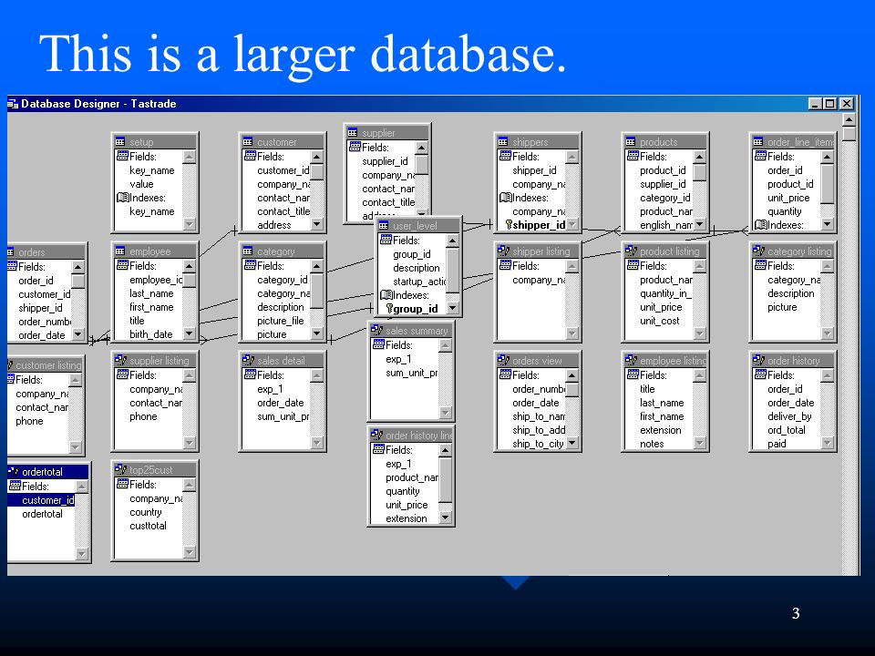 3 3 this is a larger database - What Is Database Designer