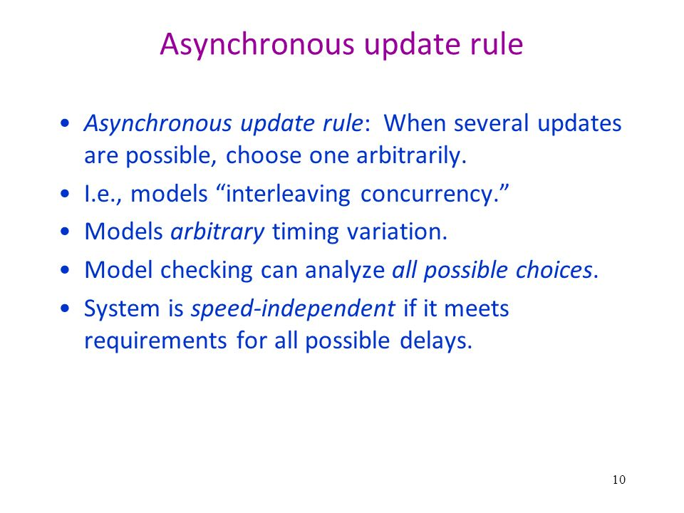 Asynchronous update rule Asynchronous update rule: When several updates are possible, choose one arbitrarily.