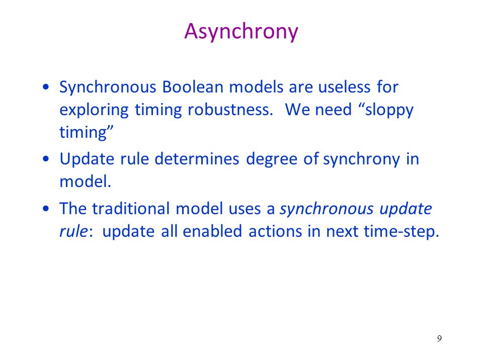 Asynchrony Synchronous Boolean models are useless for exploring timing robustness.