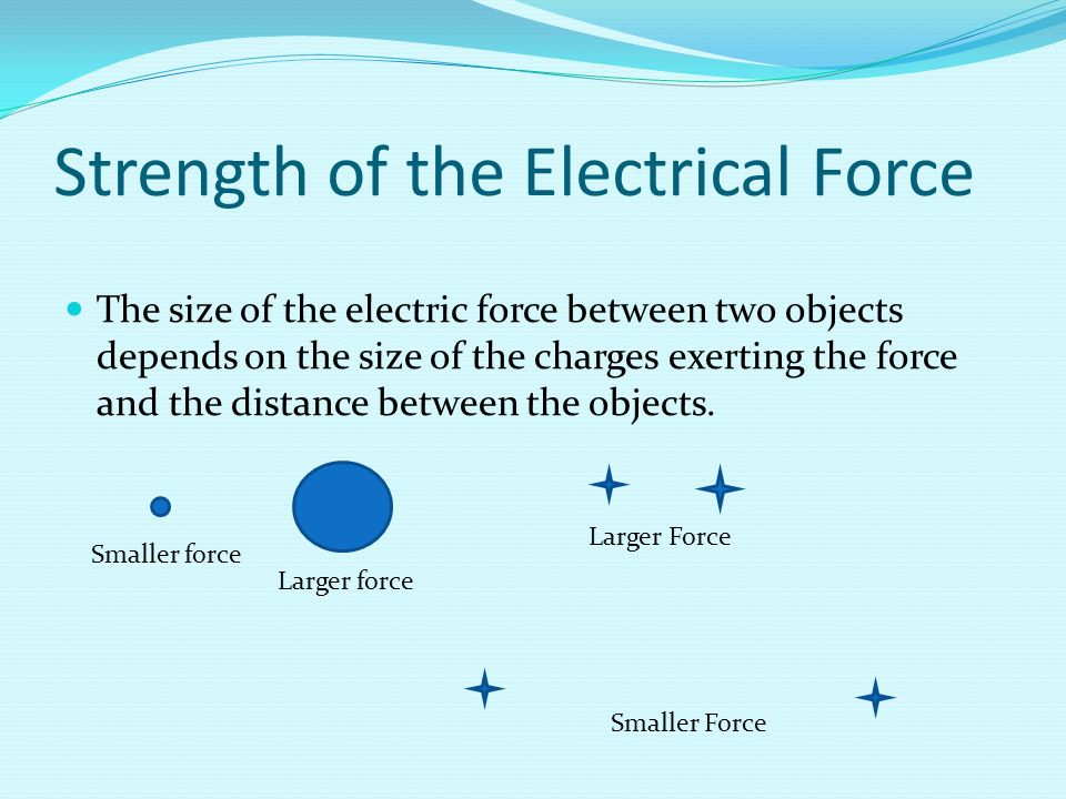 Strength of the Electrical Force The size of the electric force between two objects depends on the size of the charges exerting the force and the distance between the objects.
