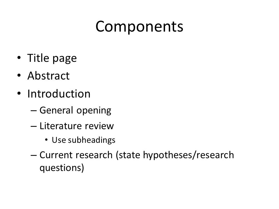Writing A Research Paper. Components Title Page Abstract