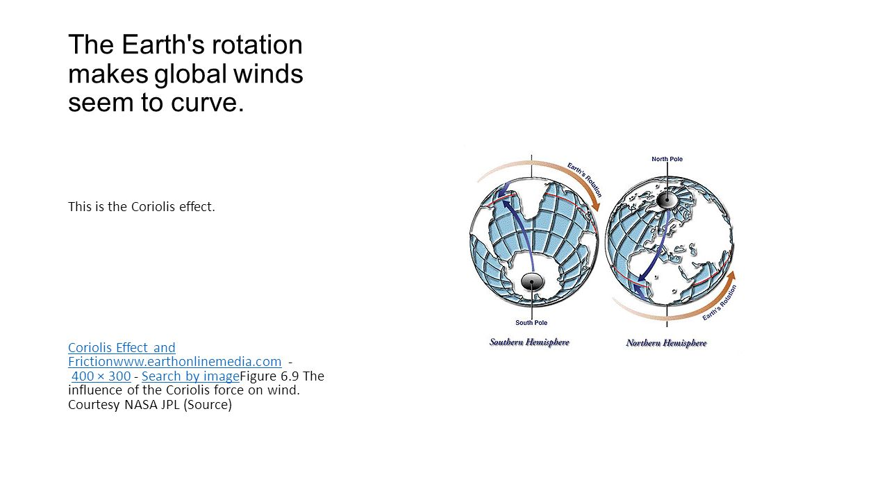 The Earth s rotation makes global winds seem to curve.