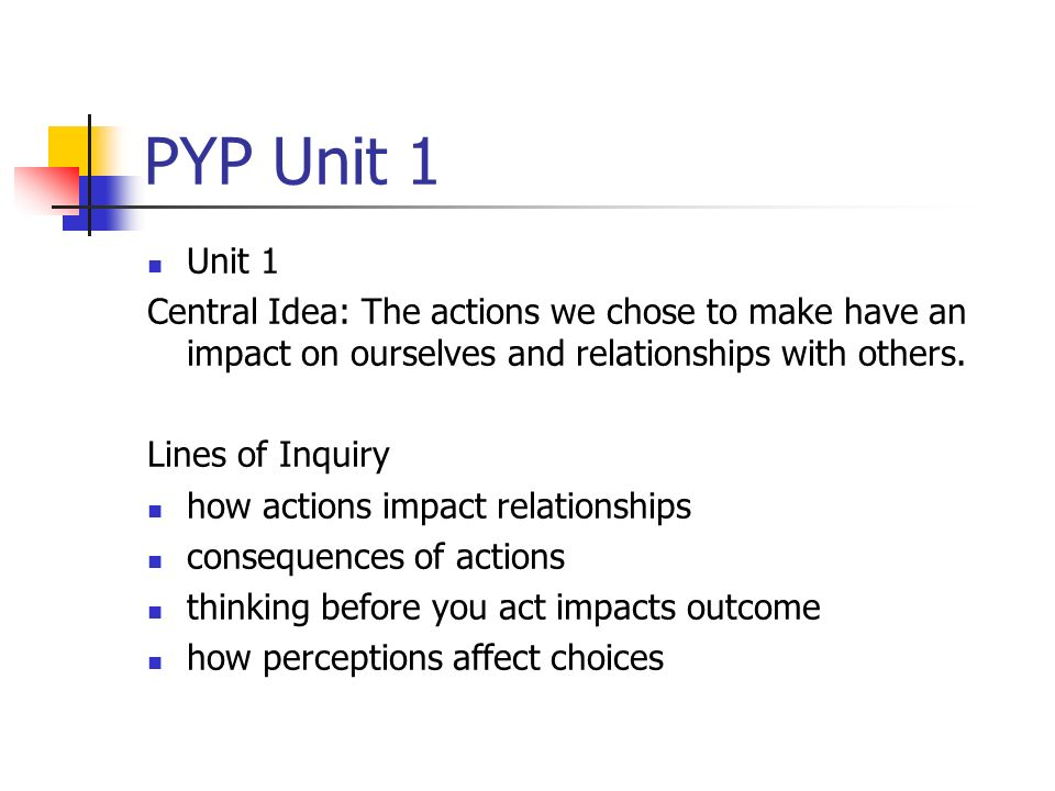 PYP Unit 1 Unit 1 Central Idea: The actions we chose to make have an impact on ourselves and relationships with others.