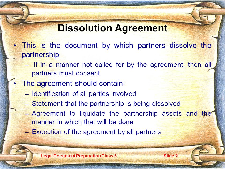 Legal Document Preparation Class Slide  General Partnerships The