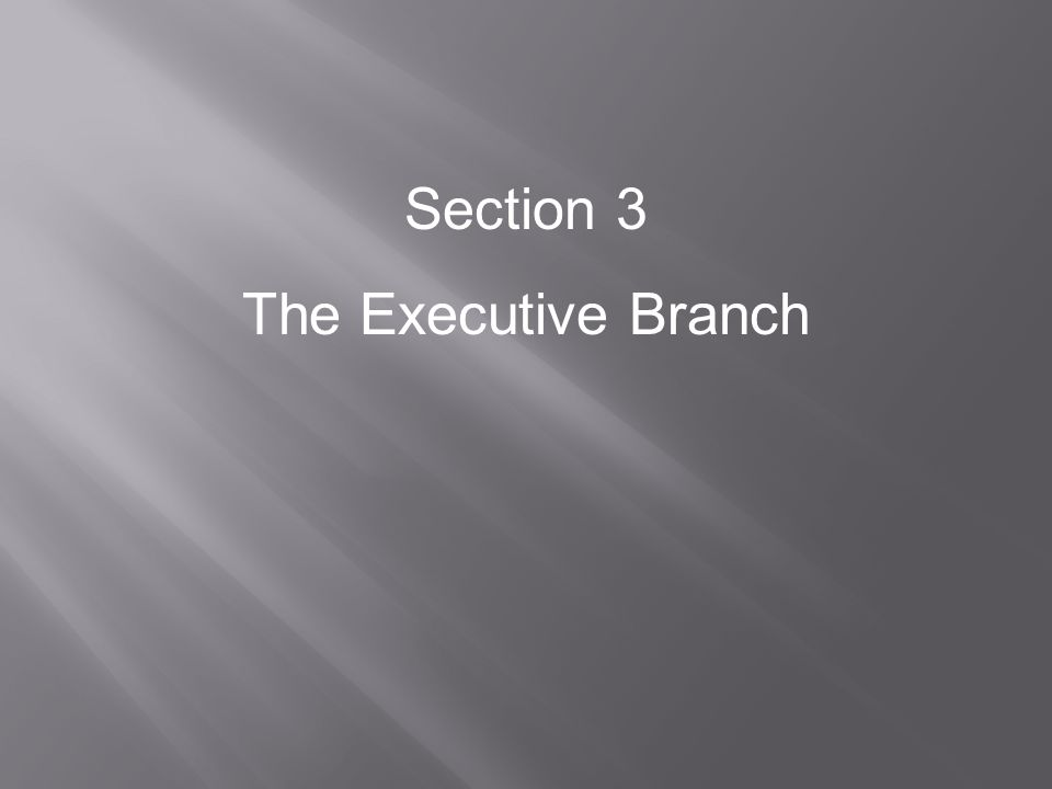 Section 3 The Executive Branch