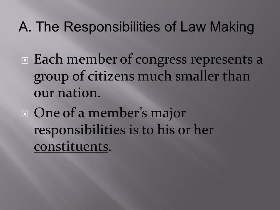  Each member of congress represents a group of citizens much smaller than our nation.