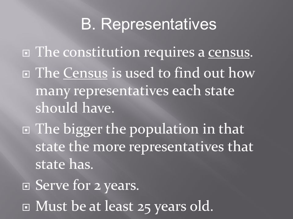  The constitution requires a census.