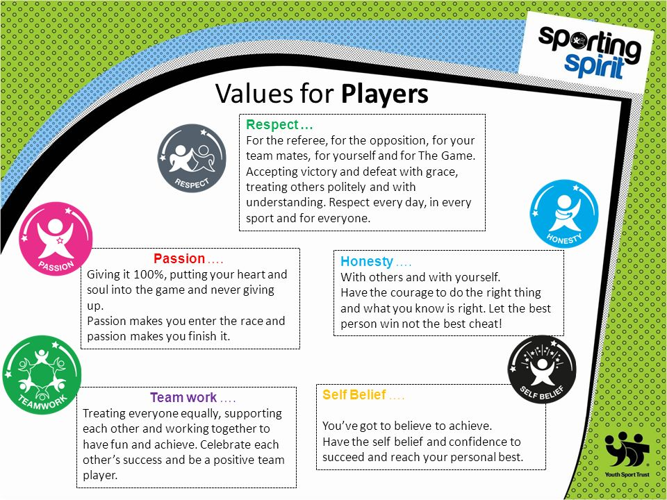 Values for Players Respect … For the referee, for the opposition, for your team mates, for yourself and for The Game.