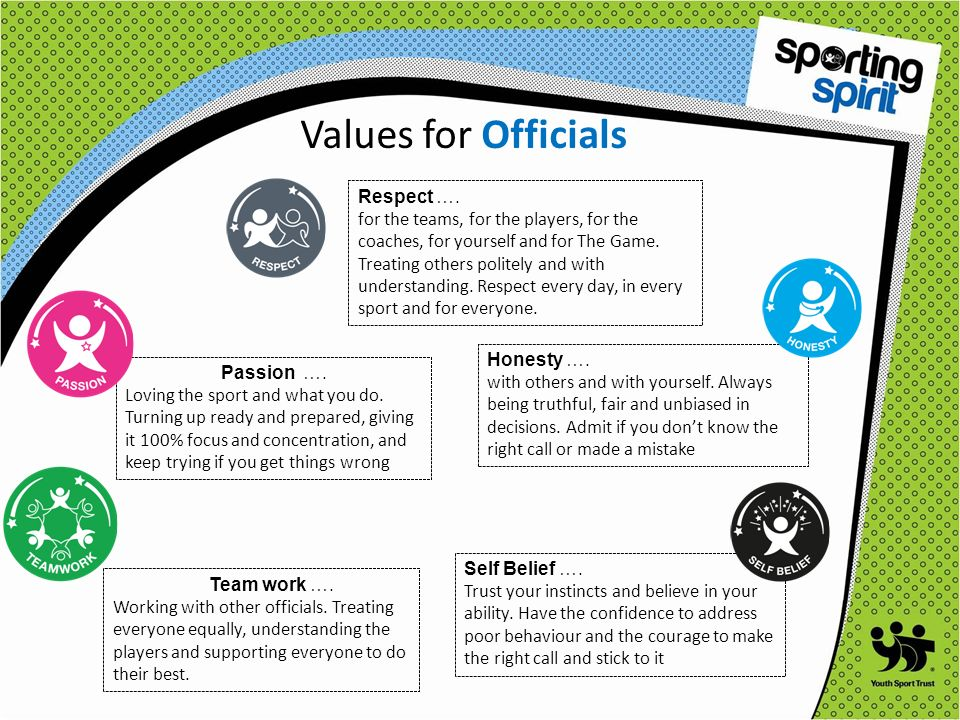 Values for Officials Respect ….
