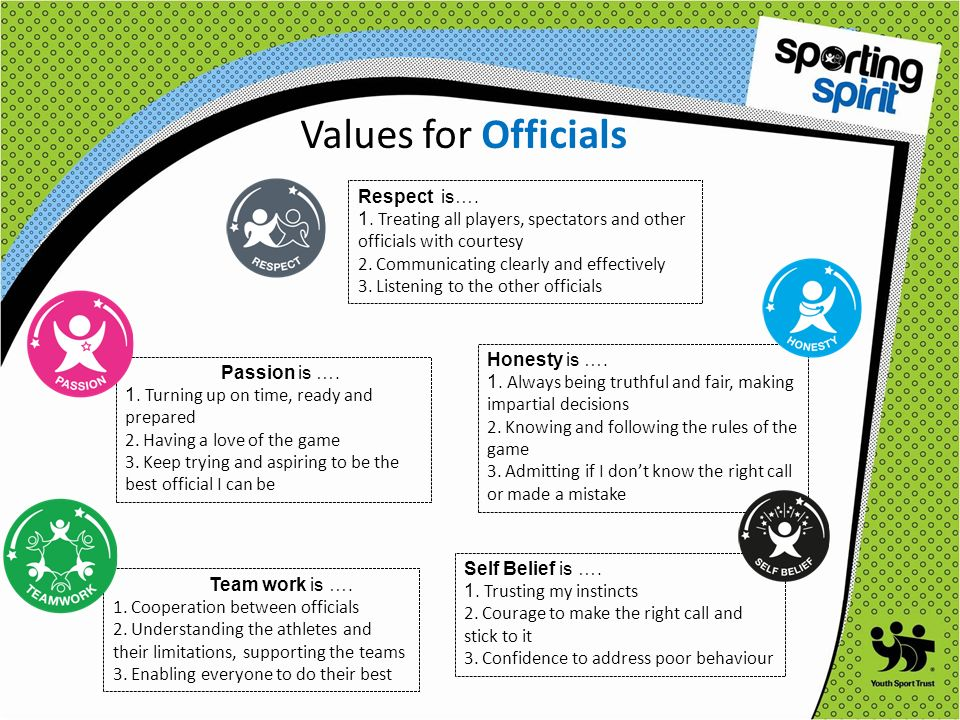 Values for Coaches Respect ….