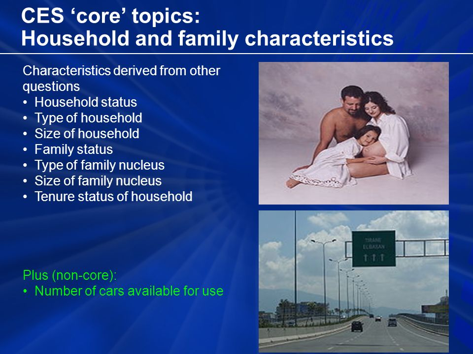 CES 'core' topics: Household and family characteristics Characteristics derived from other questions Household status Type of household Size of household Family status Type of family nucleus Size of family nucleus Tenure status of household Plus (non-core): Number of cars available for use