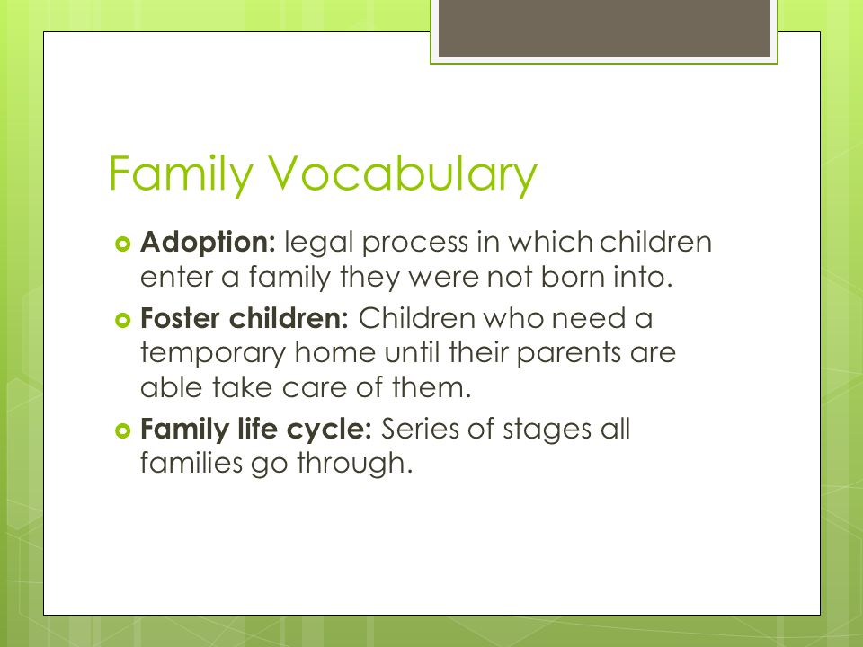 Family Vocabulary  Adoption: legal process in which children enter a family they were not born into.