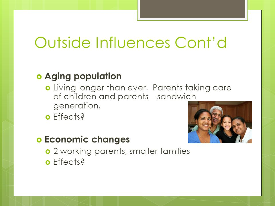 Outside Influences Cont'd  Aging population  Living longer than ever.