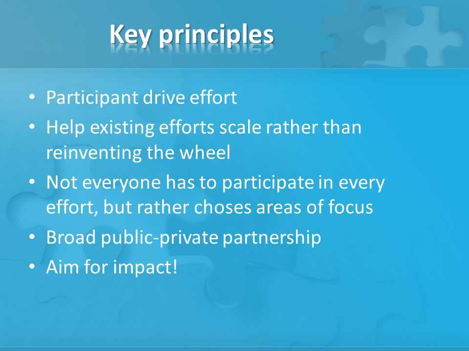 Participant drive effort Help existing efforts scale rather than reinventing the wheel Not everyone has to participate in every effort, but rather choses areas of focus Broad public-private partnership Aim for impact!
