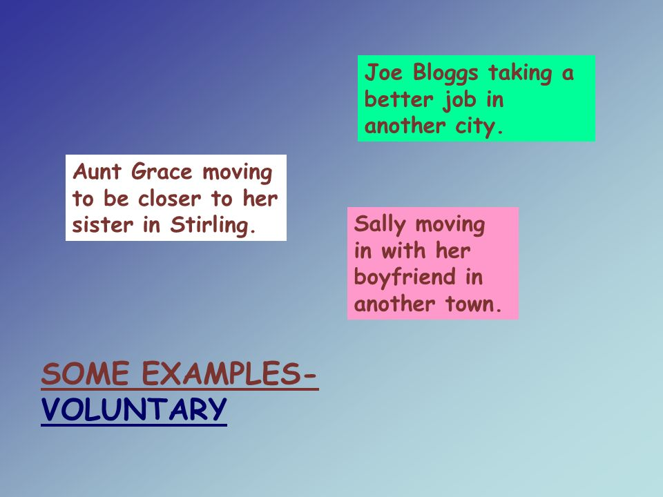 SOME EXAMPLES- VOLUNTARY Aunt Grace moving to be closer to her sister in Stirling.