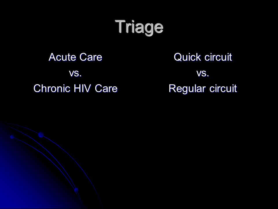 Triage Acute Care vs. Chronic HIV Care Quick circuit vs. Regular circuit